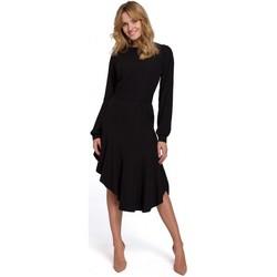 Oblečenie Ženy Dlhé šaty Makover K077 Šaty s flamencovým volánom - čierne