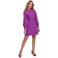 Oblečenie Ženy Krátke šaty Makover K077 Šaty s flamencovým volánom - levanduľové