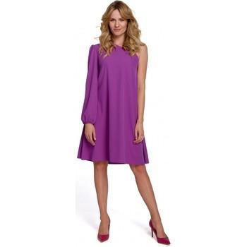 Oblečenie Ženy Krátke šaty Makover K081 Šaty na jedno rameno - čierne