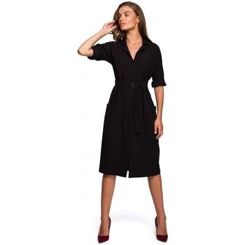 Oblečenie Ženy Dlhé šaty Style S230 Midi košeľové šaty s vreckami - čierne