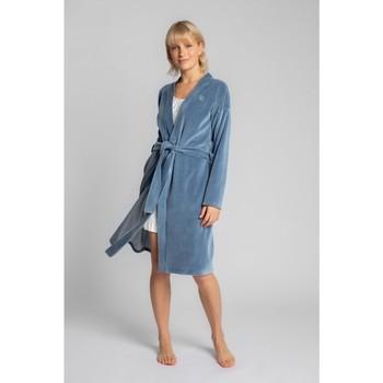 Oblečenie Ženy Pyžamá a nočné košele Lalupa LA009 Zamatový župan s opaskom na zaväzovanie - modrý