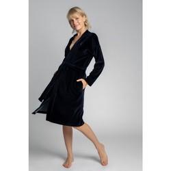 Oblečenie Ženy Pyžamá a nočné košele Lalupa LA009 Zamatový župan s opaskom na zaväzovanie - tmavomodrý