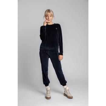 Oblečenie Ženy Blúzky Lalupa LA011 Zamatový pulóver s rukávmi Reglan - tmavomodrý