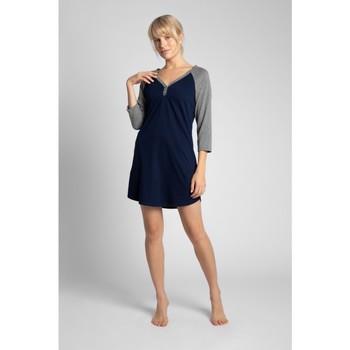 Oblečenie Ženy Pyžamá a nočné košele Lalupa LA018 Bavlnená farebná košeľa na spanie - ecru