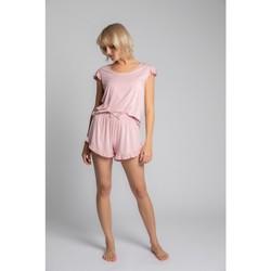 Oblečenie Ženy Blúzky Lalupa LA023 Viskózový top s volánmi bez rukávov - ružový