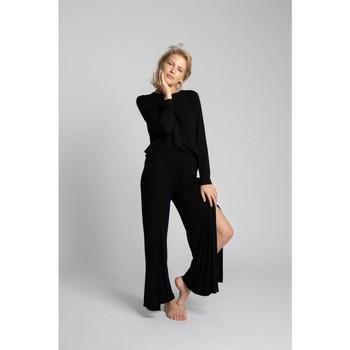 Oblečenie Ženy Padavé nohavice Lalupa LA026 Viskózové nohavice s vysokými rozparky - čierne
