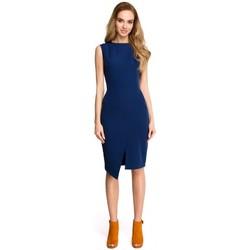 Oblečenie Ženy Krátke šaty Style S105 Šaty bez rukávov s umelým obalom - tmavomodré