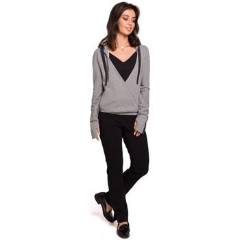 Oblečenie Ženy Mikiny Be B127 Pulóver s kapucňou - sivý