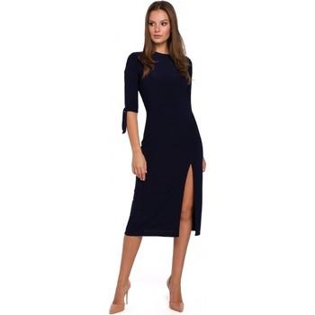 Oblečenie Ženy Krátke šaty Makover K007 Pletené šaty s viazanými rukávmi - tmavomodré