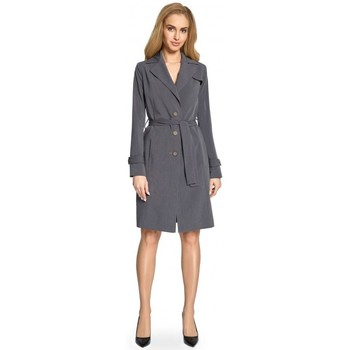Oblečenie Ženy Kabátiky Trenchcoat Style S094 Plášť - sivý