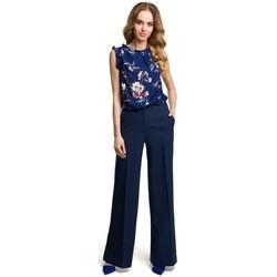 Oblečenie Ženy Padavé nohavice Moe M378 Široké nohavice - tmavomodré