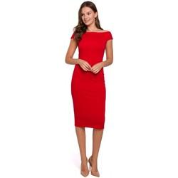 Oblečenie Ženy Krátke šaty Makover K001 Pletené šaty na ramienka - červené