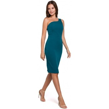 Oblečenie Ženy Krátke šaty Makover K003 Plášťové šaty s výstrihom na jedno rameno - oceánsky modré