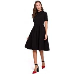 Oblečenie Ženy Krátke šaty Makover K028 Šaty so zrolovaným výstrihom - čierne