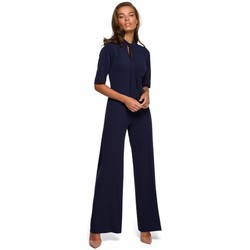 Oblečenie Ženy Módne overaly Style S243 Elegantný overal so zaväzovaním za krk - tmavomodrý