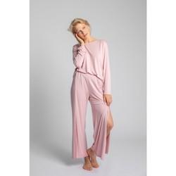 Oblečenie Ženy Pyžamá a nočné košele Lalupa LA026 Viskózové nohavice s vysokými rozparky - ružové