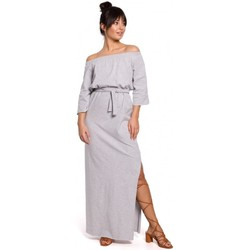 Oblečenie Ženy Šaty Be B146 Maxi šaty bez ramien - sivé