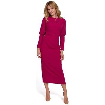 Oblečenie Ženy Dlhé šaty Makover K079 Šaty v midi dĺžke s rozdeleným chrbtom - slivka
