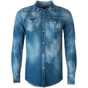 Oblečenie Muži Košele s dlhým rukávom Dsquared  Modrá