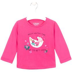 Oblečenie Dievčatá Tričká s dlhým rukávom Losan 026-1008AL Ružová