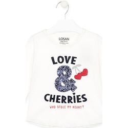 Oblečenie Dievčatá Tričká s dlhým rukávom Losan 026-1022AL Biely