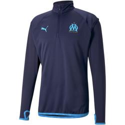 Oblečenie Muži Vrchné bundy Puma Sweat OM Warmup bleu foncé/bleu azur