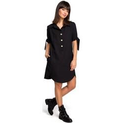 Oblečenie Ženy Tuniky Be B112 Tunika s golierom a viazanými rukávmi - čierna