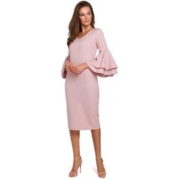 Oblečenie Ženy Dlhé šaty Makover K002 Plášťové šaty s volánovými rukávmi - krepové