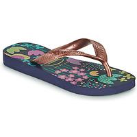Topánky Dievčatá Žabky Havaianas KIDS FLORES Námornícka modrá / Zlatá