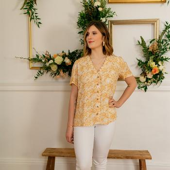 Oblečenie Ženy Blúzky Céleste MESANGE Žltá / Biela