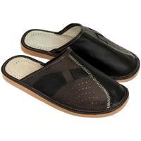 Topánky Muži Papuče John-C Pánske hnedo-čierne papuče JOSEFF2 hnedá