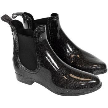 Topánky Ženy Gumaky John-C Dámske čierne trblietavé gumáky NARI čierna