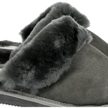 Topánky Ženy Papuče Just Mazzoni Dánske luxusné kožené tmavo-sivé papuče MAVELLA tmavosivá