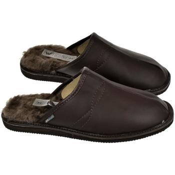 Topánky Muži Papuče Just Mazzoni Pánske luxusné kožené tmavo-hnedé papuče GIGS hnedá