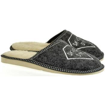 Topánky Muži Papuče Bins Pánske sivé papuče SKVELÝ SYN tmavosivá