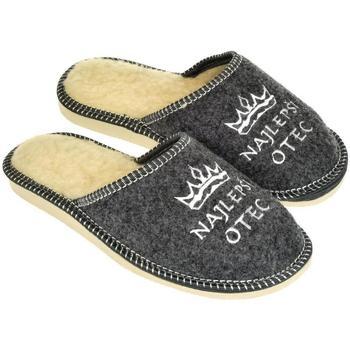 Topánky Muži Papuče John-C Pánske sivé papuče NAJ OTEC tmavosivá