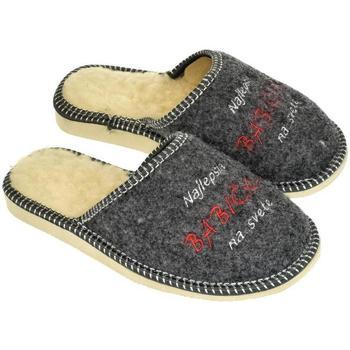 Topánky Ženy Papuče John-C Dámske sivé papuče NAJ BABIČKA tmavosivá