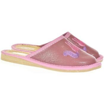Topánky Dievčatá Papuče Just Mazzoni Detské ružové kožené papuče jednorožec KYARA 25-34 ružová