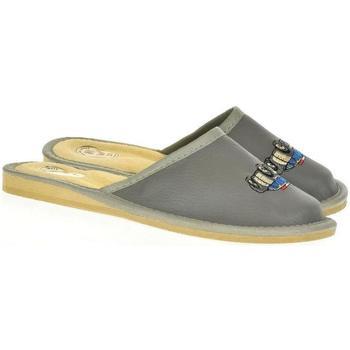 Topánky Deti Papuče Just Mazzoni Detské sivé kožené papuče POLICE CAR 25-34 tmavosivá