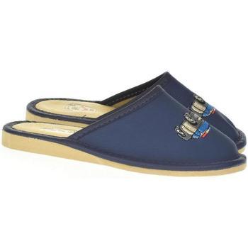 Topánky Chlapci Papuče Just Mazzoni Detské modré kožené papuče POLICE CAR 25-34 tmavomodrá