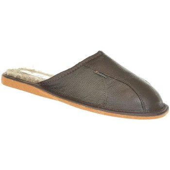 Topánky Muži Papuče Just Mazzoni Pánske luxusné tmavohnedé kožené papuče PATRIK hnedá