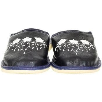 Topánky Ženy Papuče John-C Dámske modré kožené papuče LIASA tmavomodrá