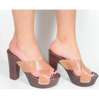 Topánky Ženy Šľapky Comer Dámske hnedé dreváky MIRINIA ťavia