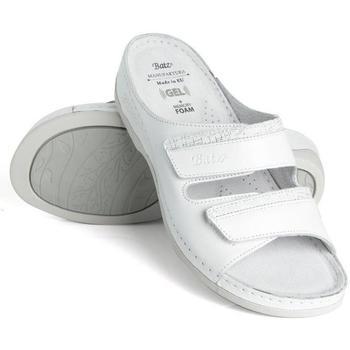 Topánky Ženy Šľapky Batz Dámske kožené biele šľapky REA biela