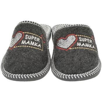 Topánky Ženy Papuče Bins Dámske sivé papuče MAMKA tmavosivá