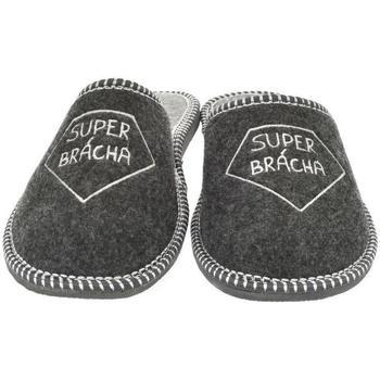 Topánky Muži Papuče Bins Pánske sivé papuče SUPER BRÁCHA tmavosivá