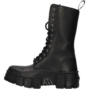 Topánky Polokozačky New Rock WALL027NBASA BLACK