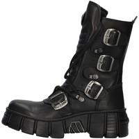 Topánky Polokozačky New Rock WALL028N BLACK