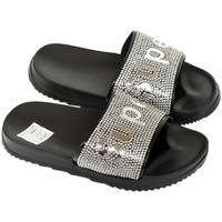 Topánky Dievčatá športové šľapky John-C Detské čierno-strieborné šľapky SUPER čierna