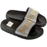 Topánky Dievčatá športové šľapky John-C Detské čierno-zlaté šľapky SUPER čierna